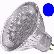 Lâmpada Dicróica Led MR16 Gx6.35 Azul 127V 18 Led 1,2W