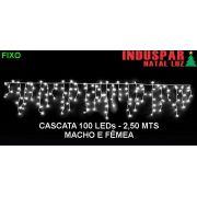 N30-13 - Cascata 100 Led Branco Morno Macho e Fêmea Tam. 2,50 mts 3007 / 3507