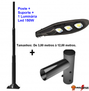 P01L/1 - Poste de Iluminação Led 1 Luminária Pétala - Reto 150W (3 à 12 Metros)