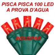 Pisca Pisca Vermelho 100 Led Fio Verde - Fixo Macho e Fêmea Ref 2515 220V - A prova d'agua