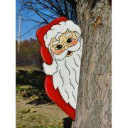 Ref: 043-MD - Decoração Color Mdf Papai Noel Escondido atrás da Árvore  - Tam 0,50 x 0,25 Metros