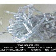 014PI - Pisca Pisca 100 Led Azul Fixo Macho e Fêmea  Fio Transparente 10 mts