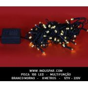 N21-8F/08VD - Pisca Pisca 100 Led Branco Morno Multi Funções  Fio Verde 10 mts - 1008 / 1508