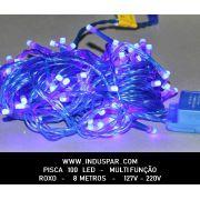 008PI - Pisca Pisca 100 Led Roxo Multi Funções Fio Roxo 8 mts