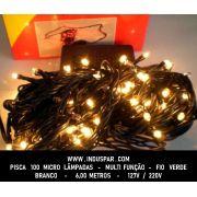 Pisca Pisca 100 Micro Lâmpada Branca Multi Funções  Fio Verde - Ref. 101053 / 102052