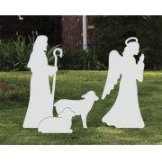 Ref: 491 - Presépio  Elegance Branco Médio - Kit Anjo / Pastor / Ovelhas