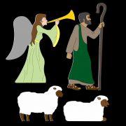 Presépio Elegance - Kit Pastor, Ovelhas e Anjo - 3 Tamanhos COLORIDO