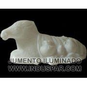 002/5 - Personagem Mula Branco Iluminado Presépio Tradição Polietileno