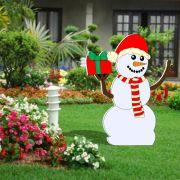 035-MD - Decoração Color Mdf Boneco de Neve com Presente - Tam. 1,30 x 1,03Metros