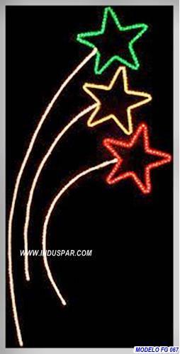 Painel de Natal PN-083-FE Iluminado Led - Estrelas Irmãs - MED 1,10 X 3,00 MTS
