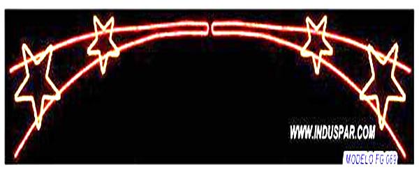 Painel de Natal PN-095-FE Iluminado Led -  Vara de Estrelas Duplo - MED 0,90 X 7,00 MTS