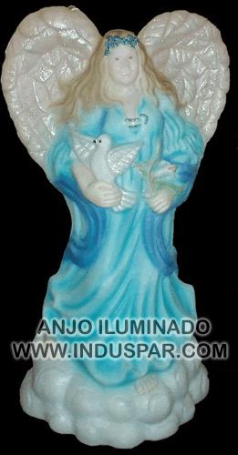 003/9 - Personagem Anjo Colorido Iluminado Presépio Tradição Polietileno