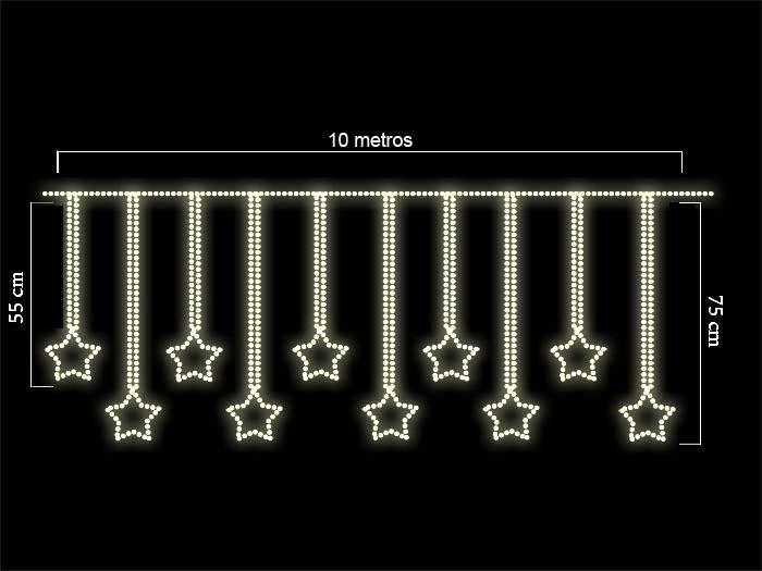 Cascata com 10 Estrelas 30 cm 10 mt Largura x Altura 0,75 mt - Led