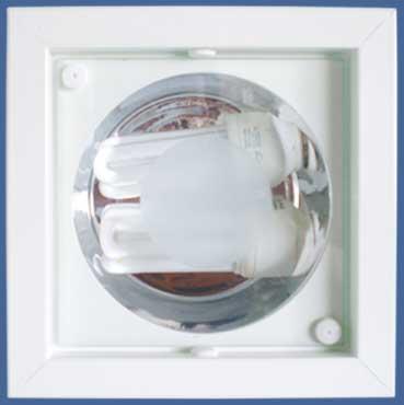 Luminária Quadrada com Vidro - Lâmpada Fluorescente Compacta - Ref. 564/1 PL