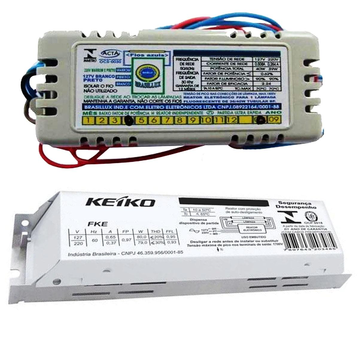 Reator Eletrônico 14W 220V - 2 Lâmpadas Fluorescente T5 kEIKO