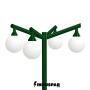 Poste Colonial de Jardim - P02G/4 - 4 Globos 30 cm Braço Angular