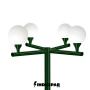 Poste Colonial de Jardim - P03G/4 - 4 Globos 30 cm Braço Reto