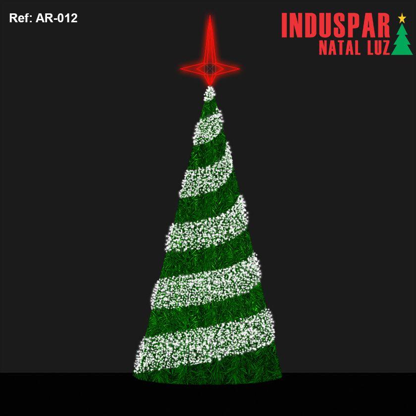 AR-012F - Arvore de Natal Gigante Led Luz e Forma Espiral com Festão - (Veja tamanhos) 220V