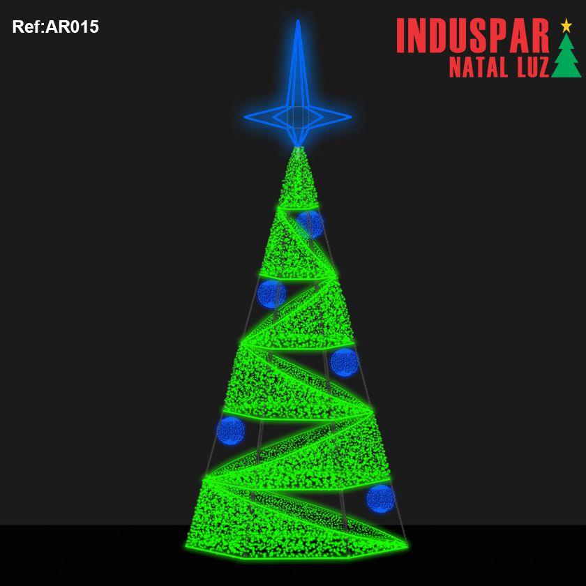 AR-015 - Arvore de Natal Gigante Led Cintilante - Espiral c/ Bolas 3D - (Veja tamanhos) 220V