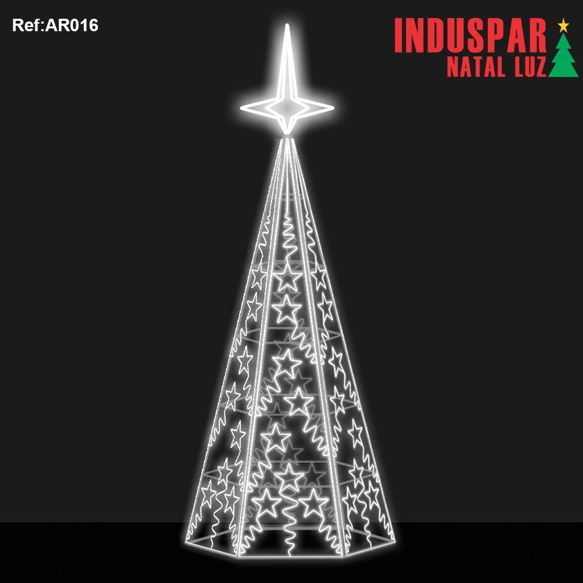 AR-016 - Arvore de Natal Gigante Led- Estrelas com Ornatos - (Veja tamanhos) 220V