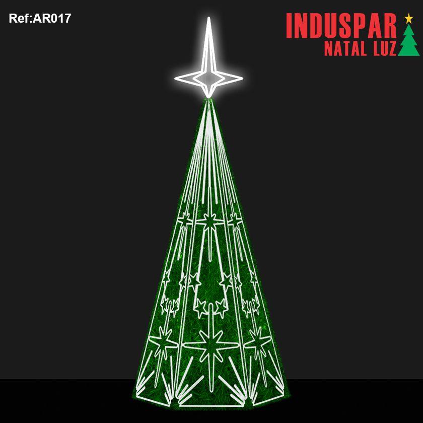 AR-017F - Arvore de Natal Gigante Led - Estrelas 4 pontas com Festão - (Veja tamanhos) 220V