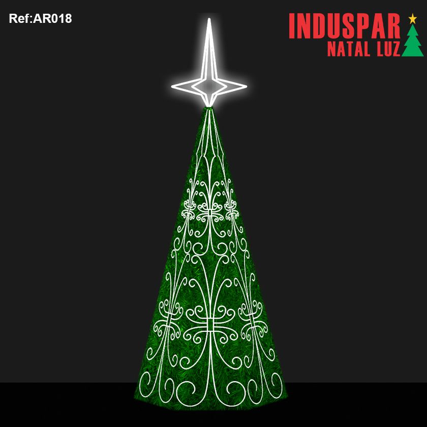 AR-018F - Arvore de Natal Gigante Led Cintilante Ornatos Show com Festão - (Veja tamanhos) 220V