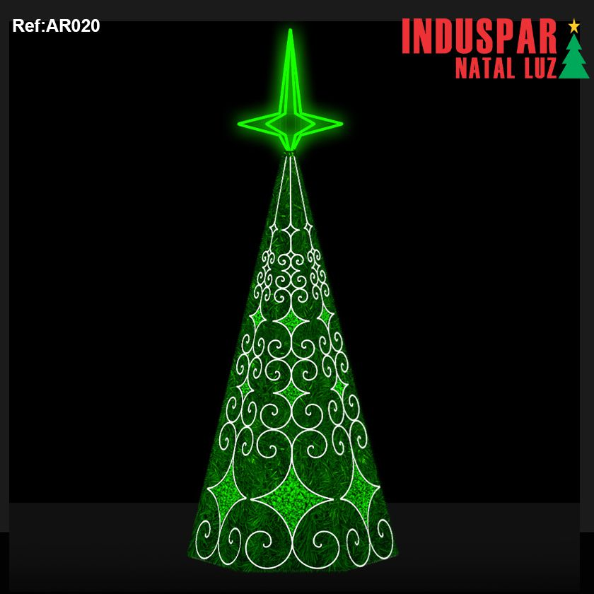 AR-020F - Arvore de Natal Gigante Led Estrelas 4 Pontas com Festão - (Veja tamanhos) 220V