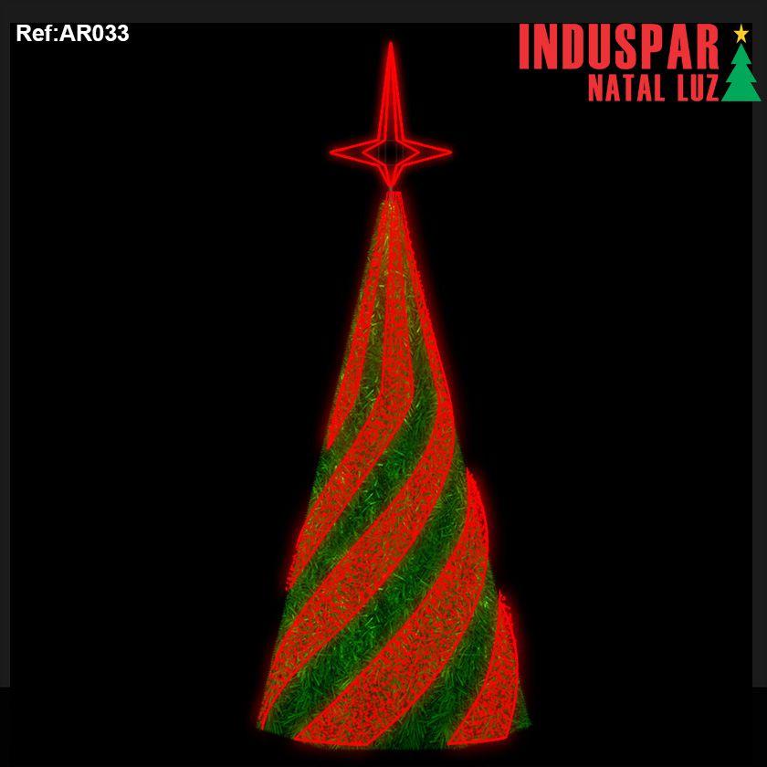 AR-033PF - Arvore de Natal Gigante Linhas Led e Piscas e Festão - Charme - (Veja tamanhos) 220V