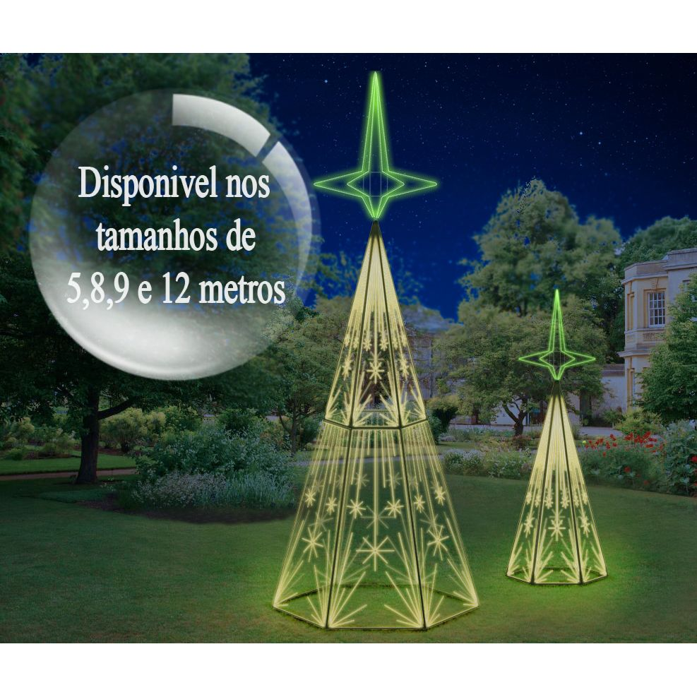 Ref: 029 - Arvore de Natal Gigante Mod 29 Led- Florença - Altura 5 à 8 Mts