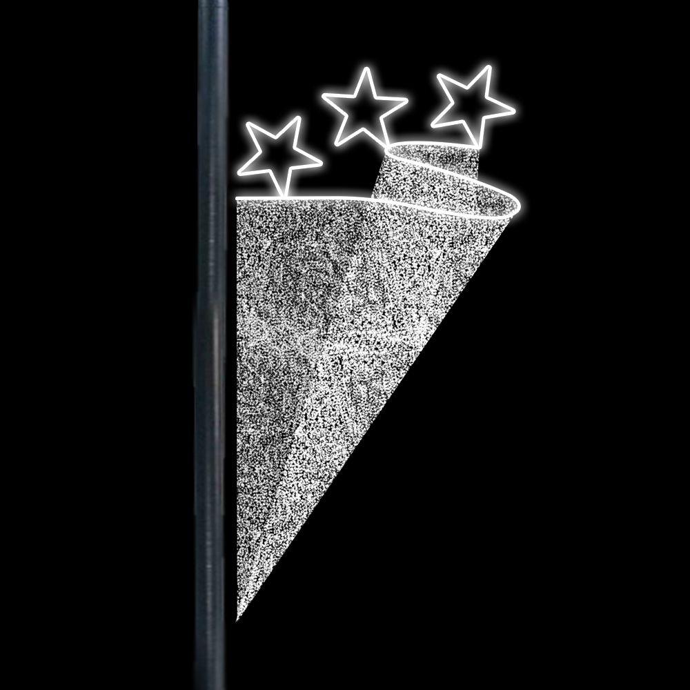 FI-279 - Decoração Lateral Poste Estrelas Trio Bandeira - MED 2,00 MTS X 1,00 MTS