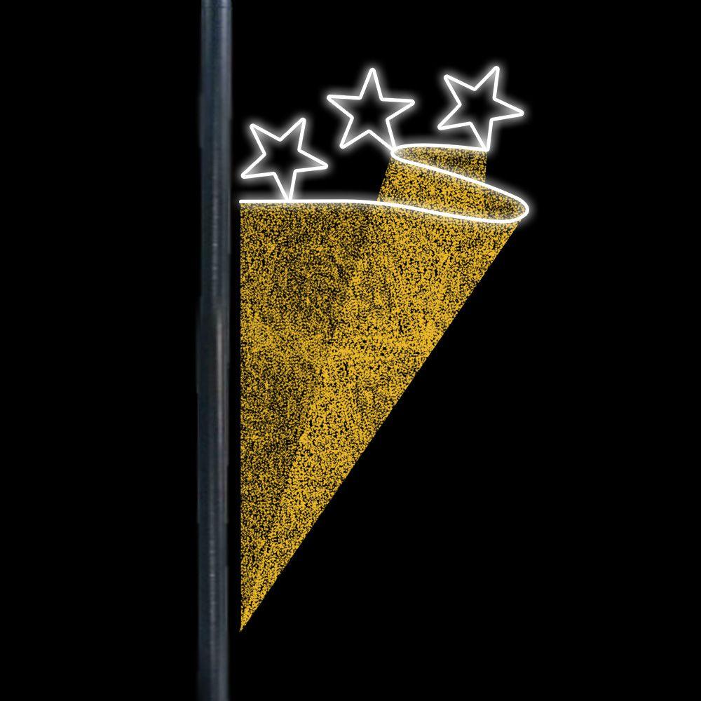 BP079 - Decoração Lateral Poste Estrelas Trio Bandeira - MED 2,00 MTS X 1,00 MTS