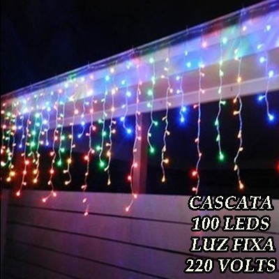Cascata Colorida 100 LEDs Luz Fixa - 3 metros - Fio Transparente