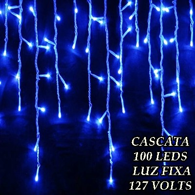 Cascata Azul 100 LEDs Luz Fixa