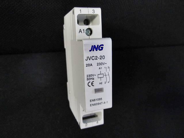 Contator modular JVC2 Din montado, 1 módulo de largura, 2 pólos 20A JNG