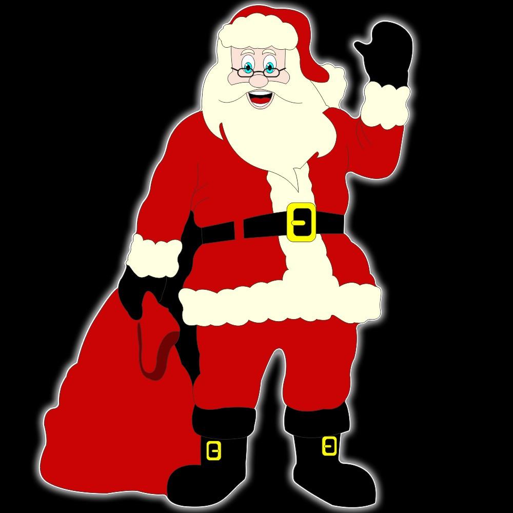 002-MD - Decoração Color Mdf Papai Noel Gigante com Saco de Presentes - Med. 1,80 X 1,33 mts