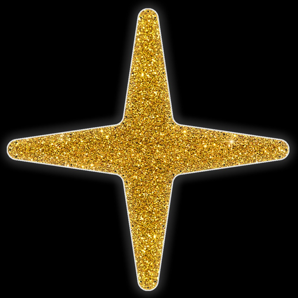 MD-018 - Estrela 4 pontas Colorida - Com ou Sem Iluminação