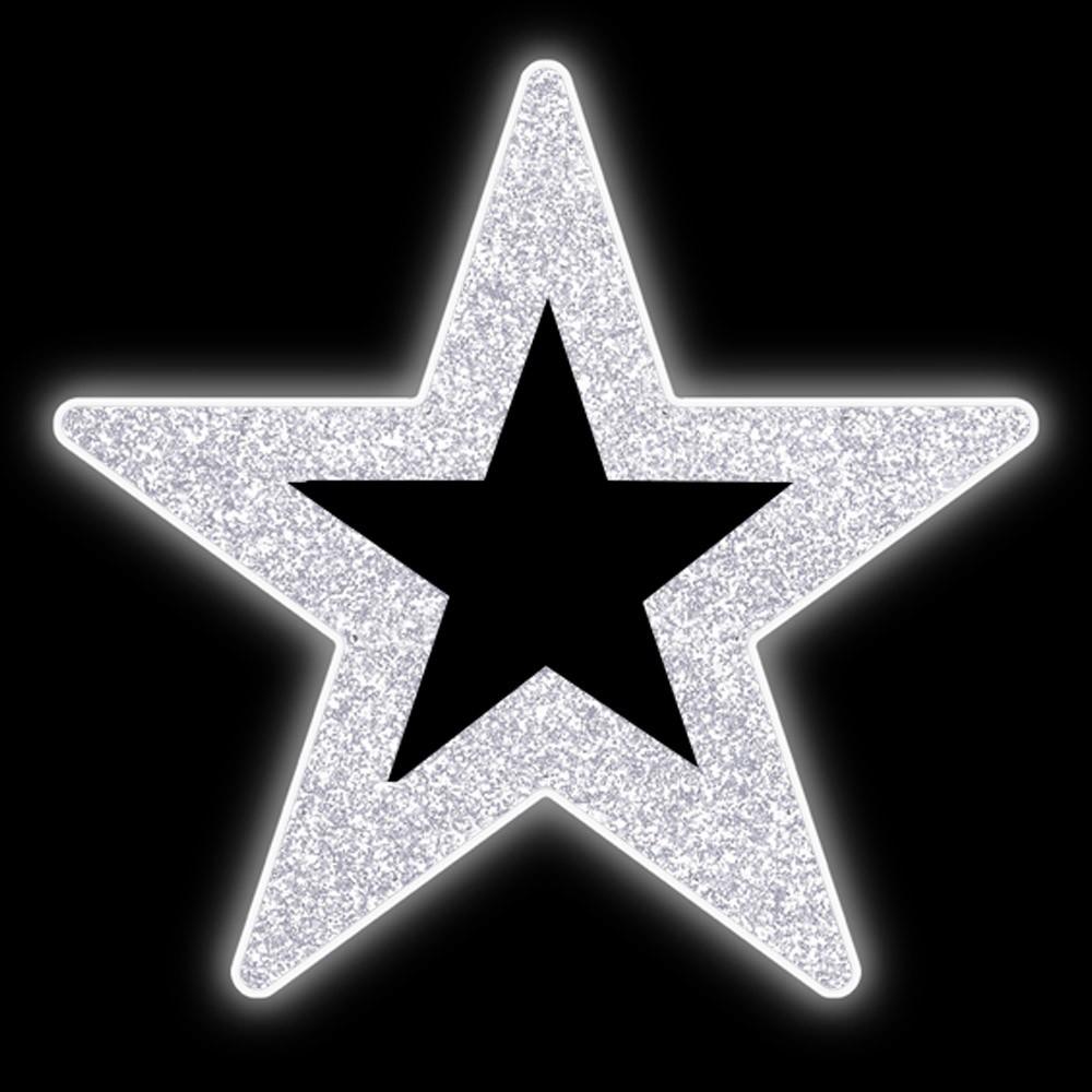 Estrela 5 pontas 1,60 Metros Vazada Brilho Iluminada Led Decora Dia e Noite PN-150/V-DN