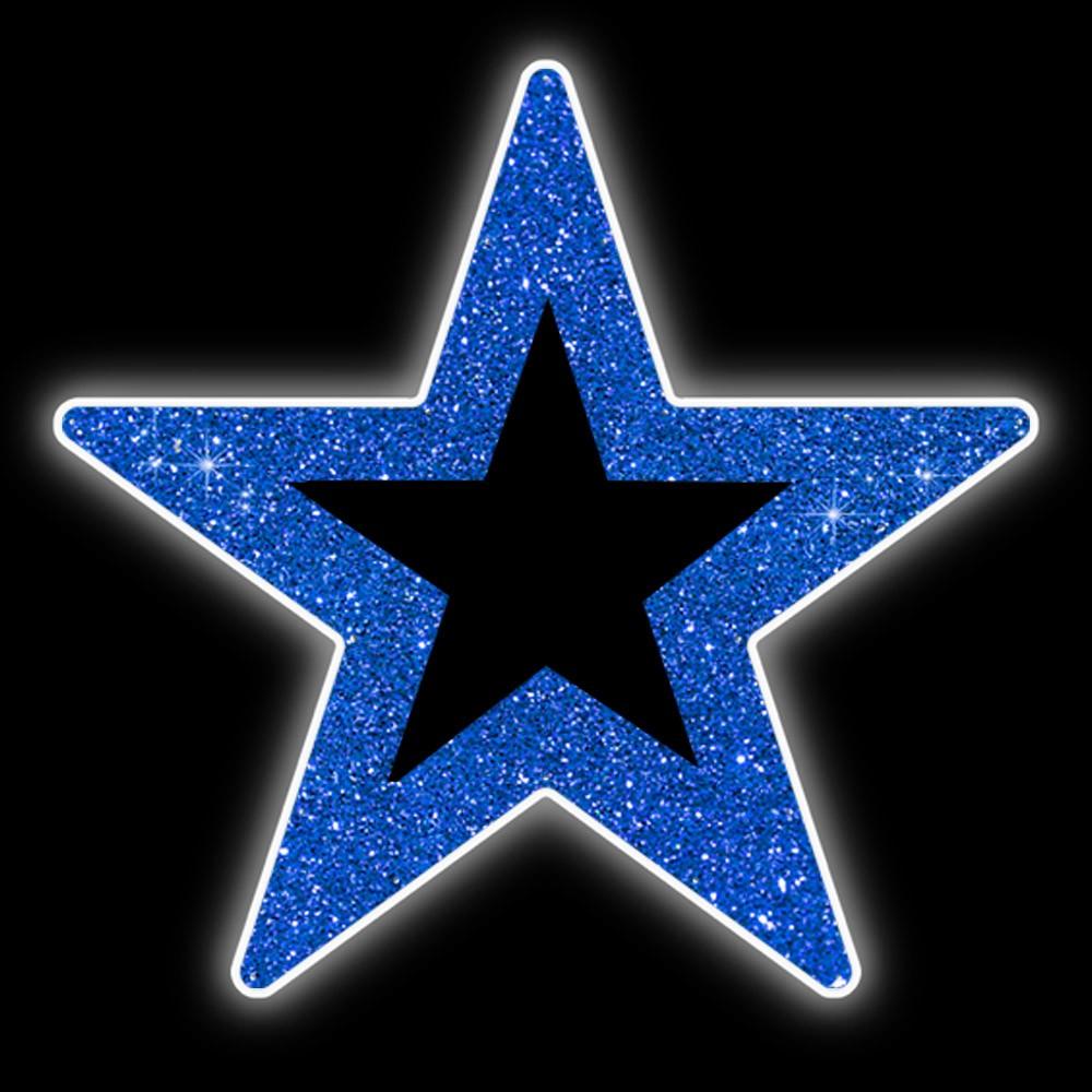 017-MD - Estrela 5 pontas Padrão Vazada Colorida - Com ou Sem Iluminação