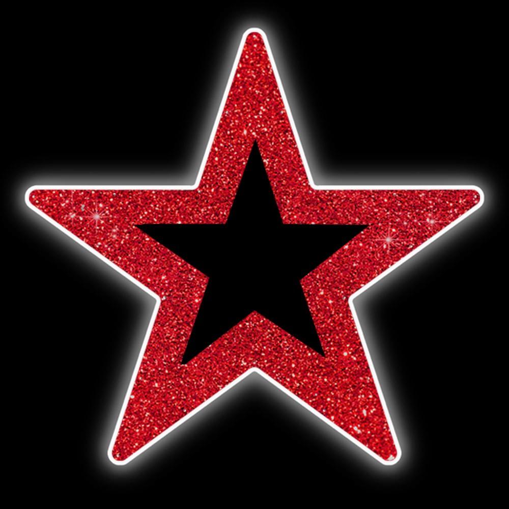 Ref: 118 - Decoração Color Mdf Estrela 5 pontas  50 cm Vazada