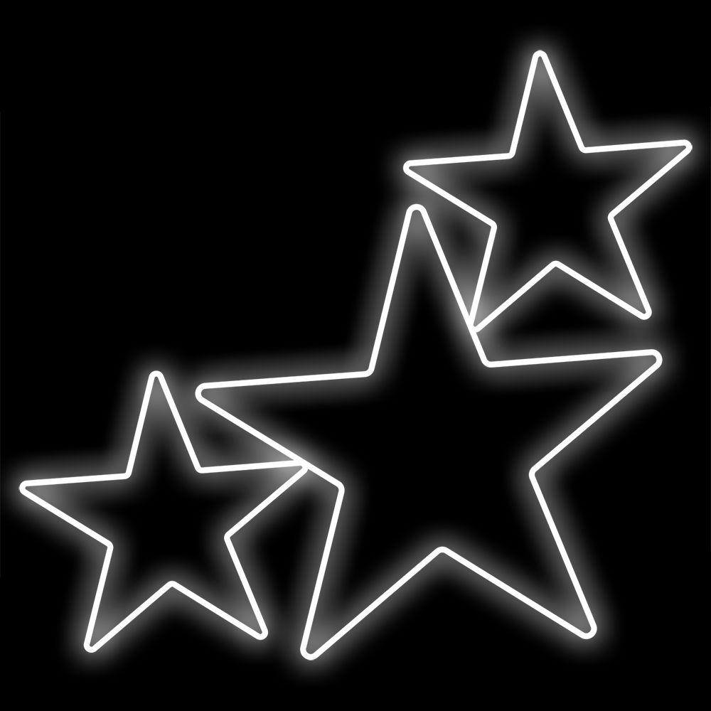 FA022 - Estrelas 5 Pontas Metálicas Iluminadas Led 1,35 X 1,22 mts.