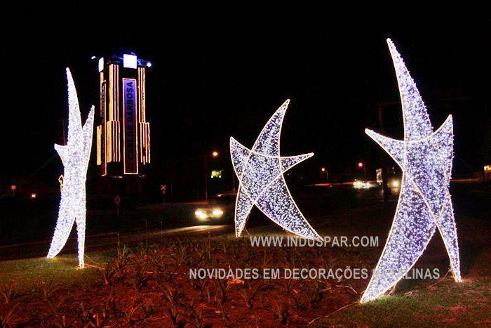 FI-060/135 - Estrela 5 pontas Belga Curva em LED Alto brilho - Tam 135 cm - NOVIDADE