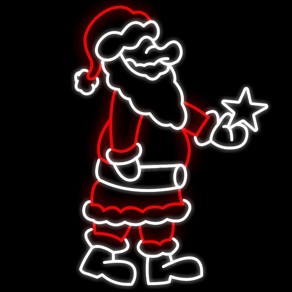 FI-077 - Papai Noel com estrela na mão Led - MED 2,00 x 1,38 mts