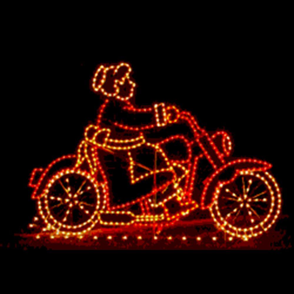 FI-083 - Decoração Metálica Iluminada Led - Noel Mamãe na Motocicleta Animada - Tam 1,80 x 1,20 mts