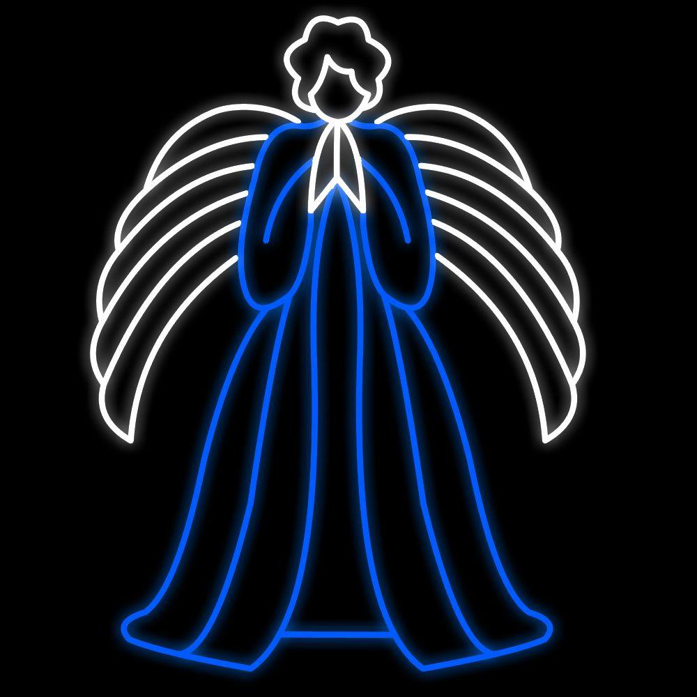 FI-104 - Decoração Metálica Iluminada Led - Anjo Celestial com Asa Baixa - Tam 1,70 x 130 mts