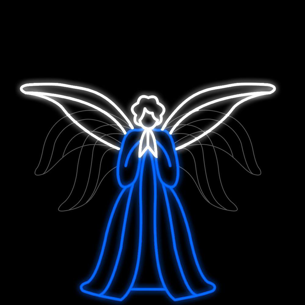 FI-105 - Decoração Metálica Iluminada Led - Anjo Celestial com movimento - Tam 1,80 x 2,10 mts