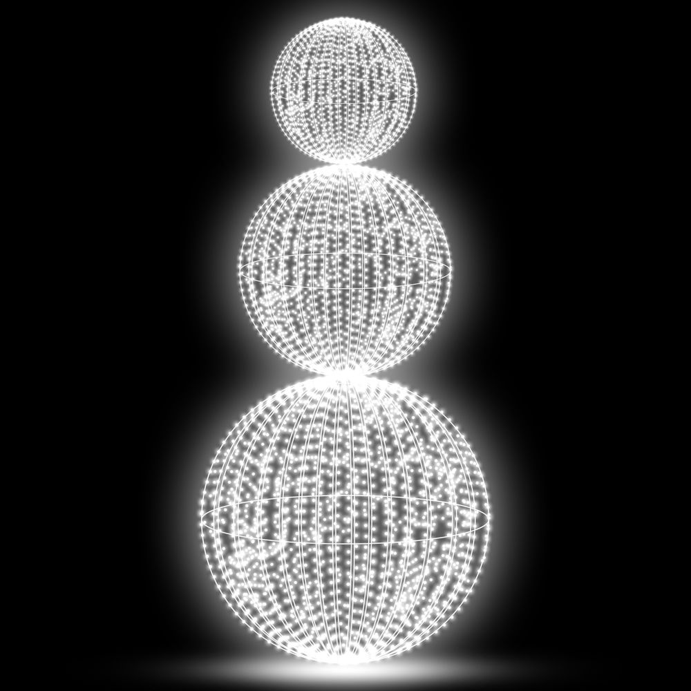 FI-133 - Bola de Natal 1,00 metro Pirulito 3 Esferas Led 3D