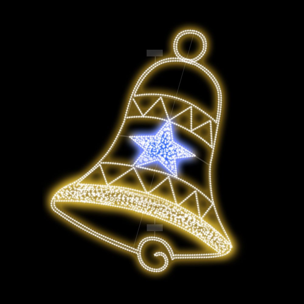FI-143 - Decoração Metálica Iluminada Led - Sino Bell Light - MED 1,90 MTS X 1,40 MT