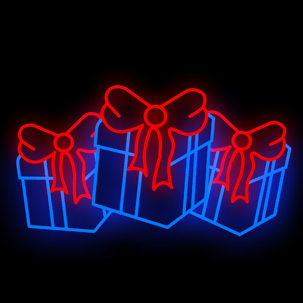 FI-153 - Decoração Metálica Iluminada Led - Caixa de presentes - MED 1,30 x 2,28 mts 2D