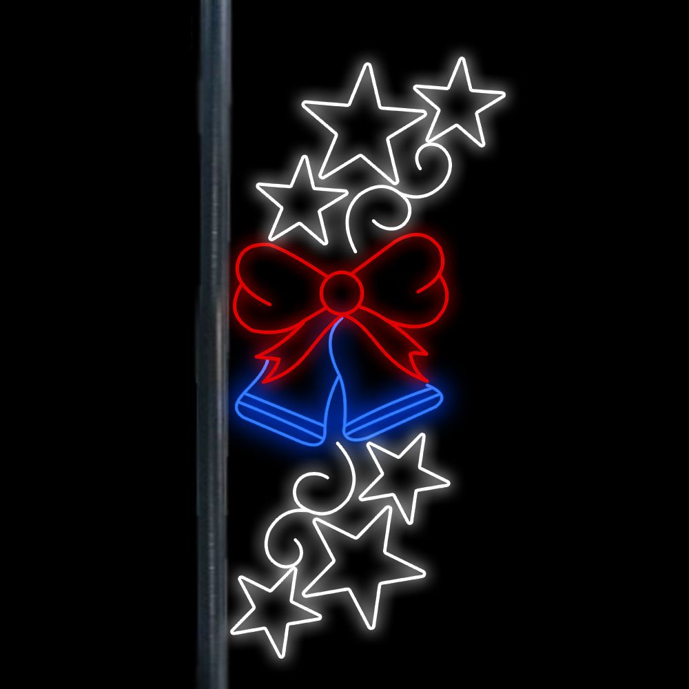 FI-068 - Sinos e Estrelas Iluminadas Led - MED 2,50 x 1,13 mts