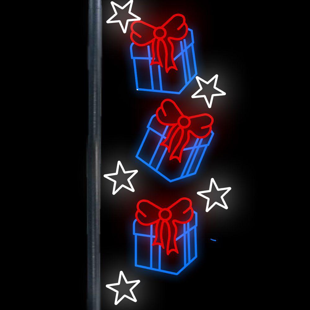 FI-078 - 3 Presentes e 5 estrelas Iluminadas Led - MED 2,50 x 1,30 mts